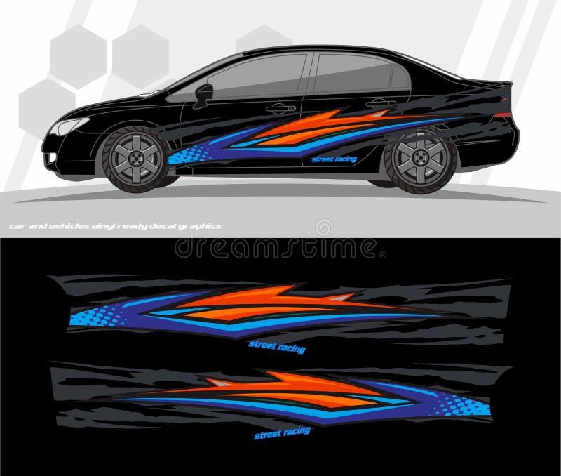 O jogo dos gráficos do decalque do carro e do envoltório dos veículos projeta apronte para imprimir e cortar para etiquetas do vi ilustração do vetor