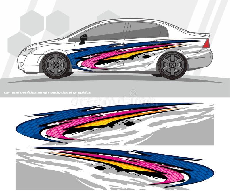 O jogo dos gráficos do decalque do carro e do envoltório dos veículos projeta apronte para imprimir e cortar para etiquetas do vi ilustração stock
