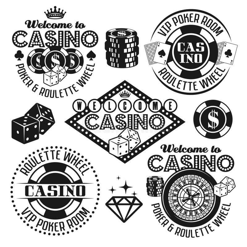 O jogo e o casino vector emblemas pretos, elementos ilustração do vetor