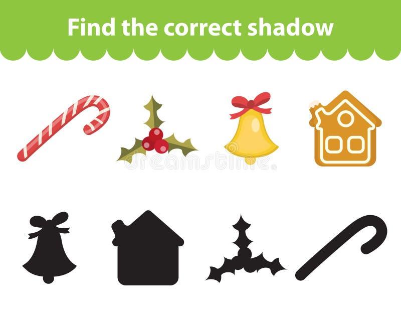 O jogo educacional das crianças s, encontra a silhueta correta da sombra ilustração royalty free