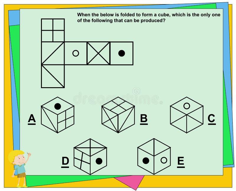 O jogo educacional para crianças, jogo do iq, prática questiona a folha para a educação e o teste do Q.I. [resposta A] ilustração royalty free