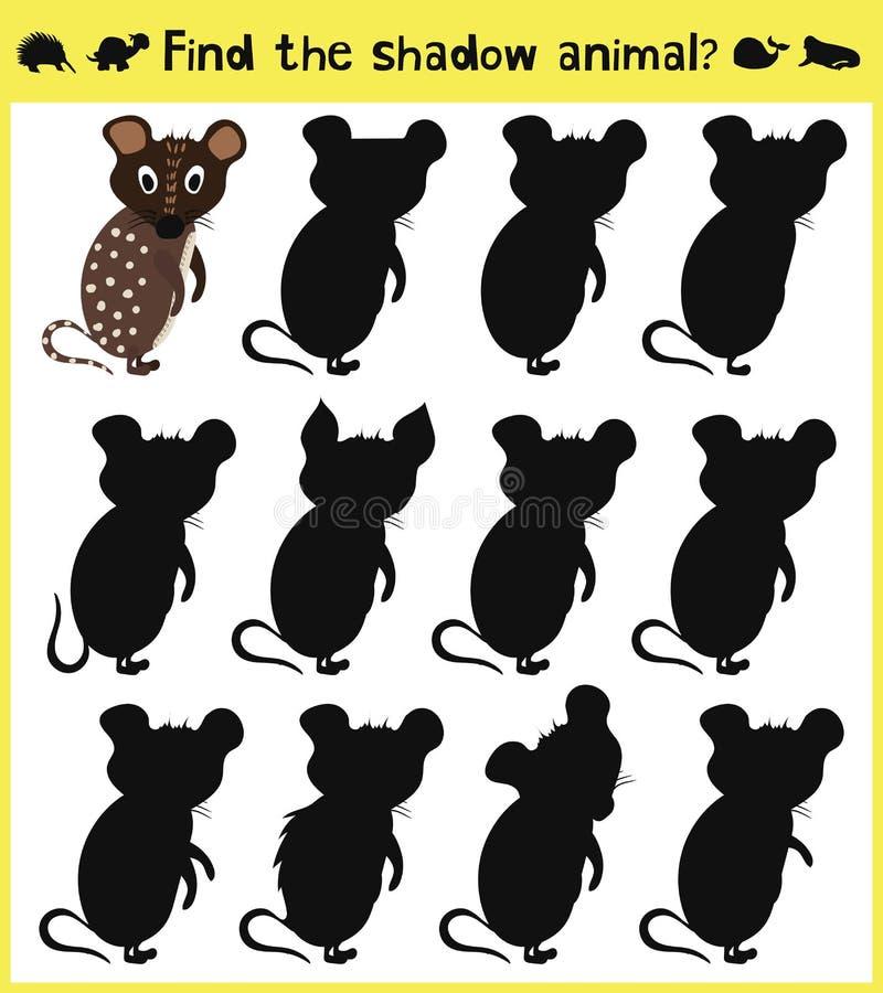 O jogo tornando-se das crianças para encontrar um rato engraçado animal do bebê da sombra apropriada Vetor ilustração do vetor