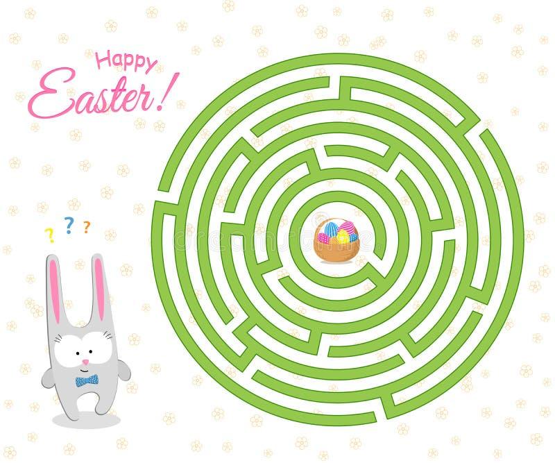 O jogo um labirinto para crianças a lebre bonito da Páscoa está procurando uma maneira através do labirinto à cesta com ovos da p ilustração do vetor