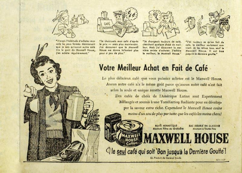 O jornal de Maxwell House adiciona fotos de stock royalty free