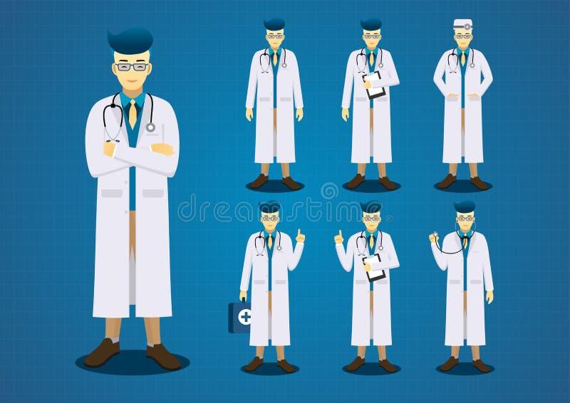 O jovem profissional medica todo o grupo do projeto de caráter da ação ilustração do vetor