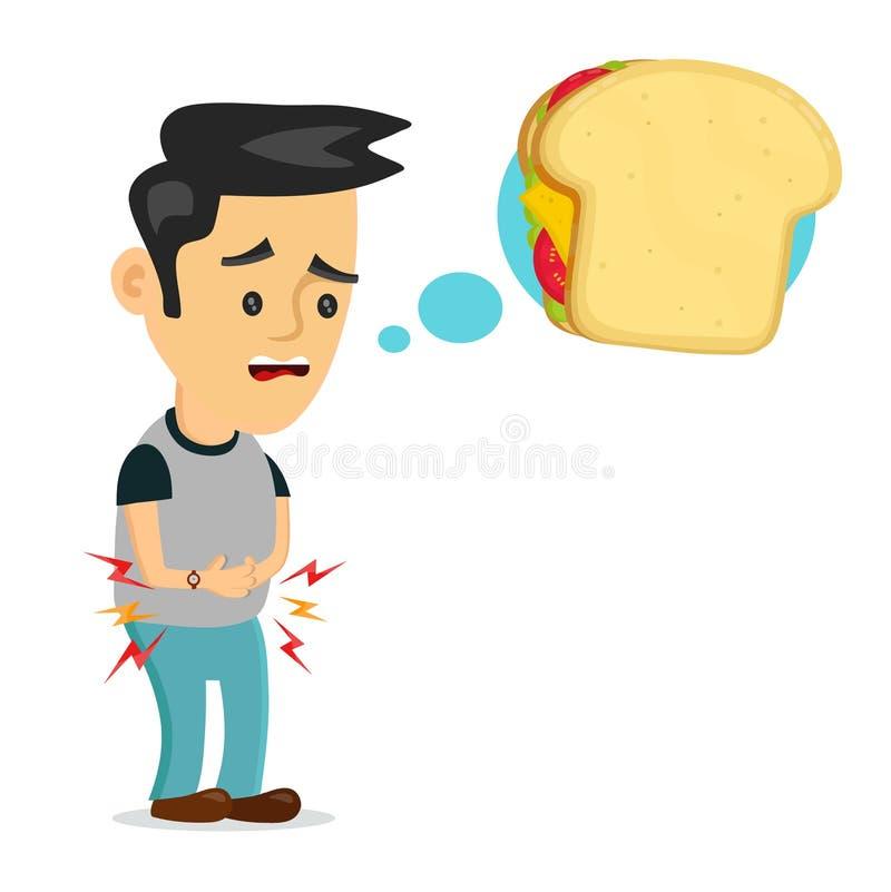 O jovem que sofre o homem triste está com fome pensa ilustração do vetor