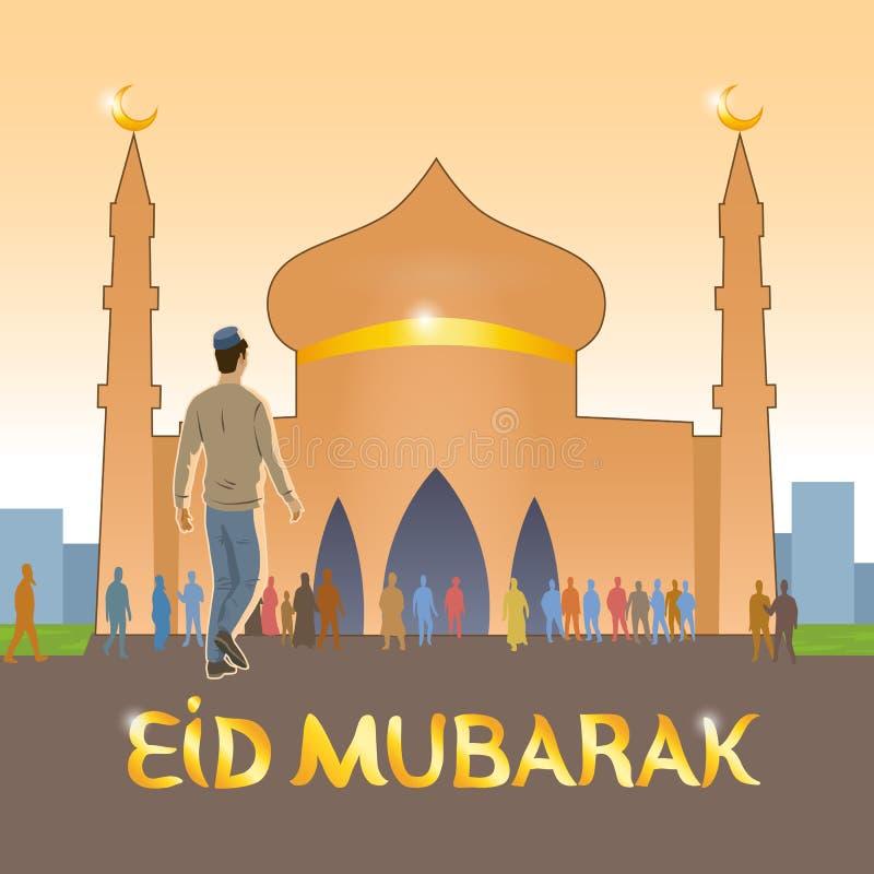 O jovem vestido em muçulmanos europeus da roupa vai à mesquita comemorar o feriado muçulmano ilustração do vetor