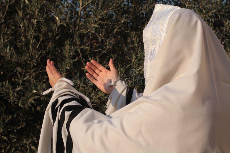 O judeu reza o prayerbook e o sopro do shofar de Rosh Hashanah foto de stock royalty free