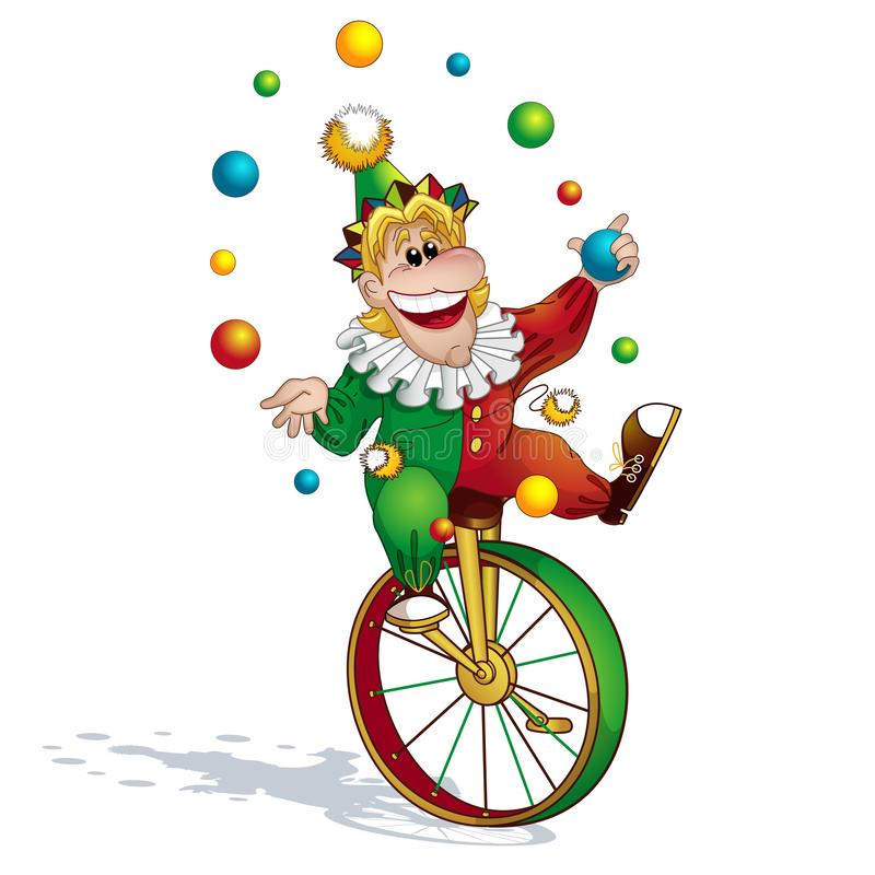 O juggler do palha?o em um terno vermelho-verde e em um tamp?o manipula com bolas e passeios em um unicycle imagens de stock royalty free