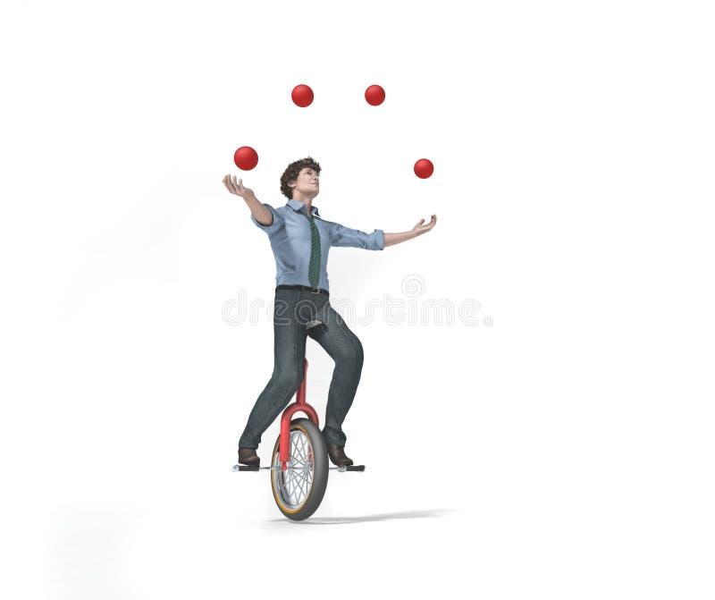 O Juggler está equilibrando na bicicleta ilustração stock