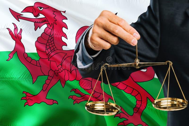 O juiz de Galês está guardando escalas douradas de justiça com fundo de ondulação da bandeira de Galler Tema da igualdade e conce fotos de stock