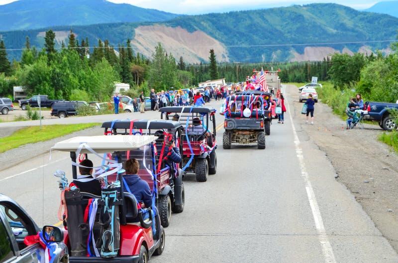 4o julho, celebração da parada do Dia da Independência em Healy, Alaska imagens de stock
