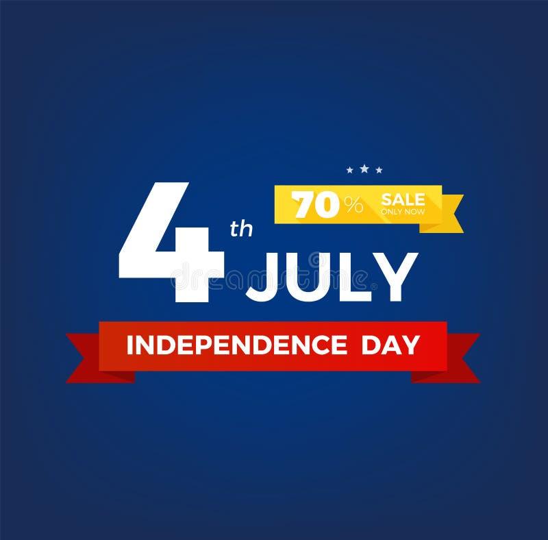 4o julho com bandeira dos EUA, bandeira do Dia da Independ?ncia Quarto do cart?o do cl?ssico da congratula??o de julho Independ?n ilustração stock
