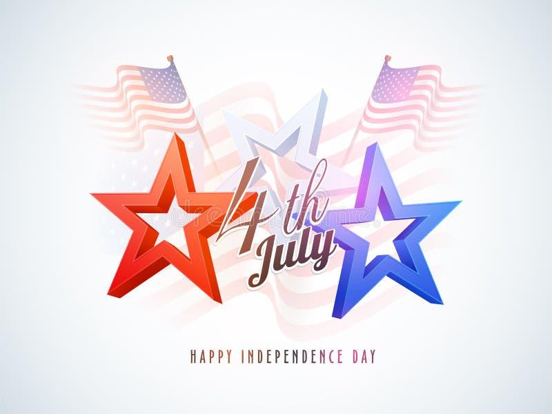 4o julho, conceito da celebração com estrelas, bandeiras de ondulação ilustração stock