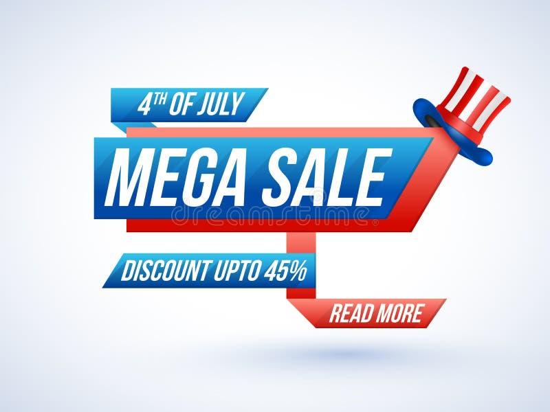 4o julho, conceito mega da venda com chapéu ilustração stock