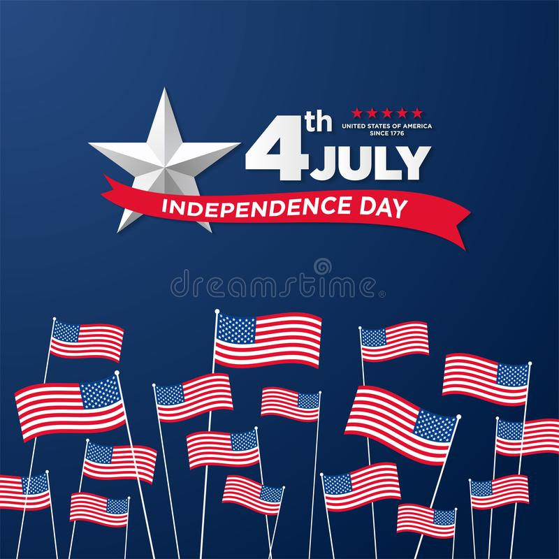 4o julho, cumprimento indicado unido do Dia da Independência Quarto de julho no projeto azul do fundo Útil como o cartão, bandeir ilustração stock