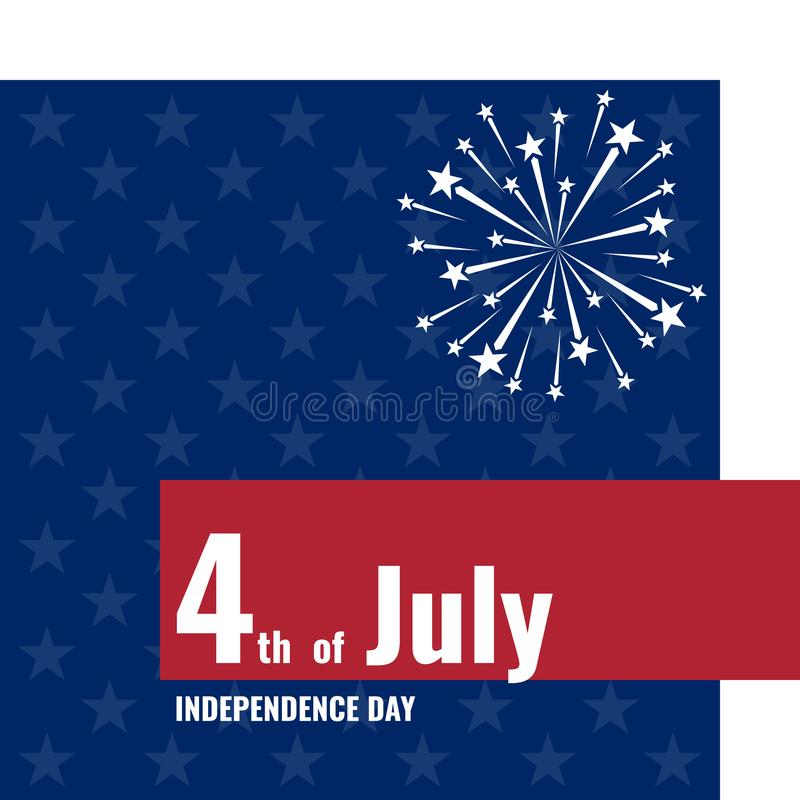 4o julho, Dia da Independência, cartão com fogos de artifício ilustração do vetor