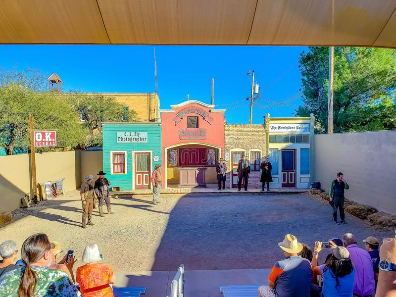 O.K. Corral Gunfight Reenactment  in Tombstone Arizona. O.K. Corral Gunfight Reenactment - Tombstone, Arizona - Nov 2, 2018 stock images