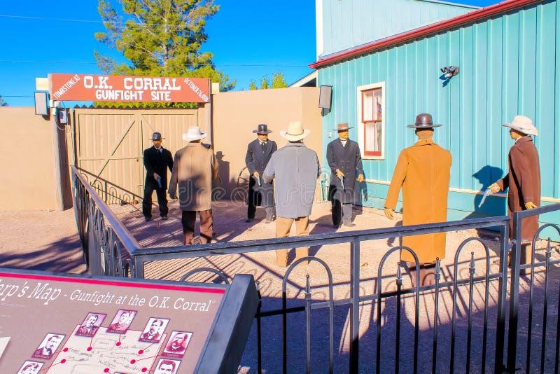 O.K Corral Gunfight Site Tombstone Arizona. O.K. Corral Gunfight Site - Tombstone, Arizona - Nov 2, 2018 stock photos