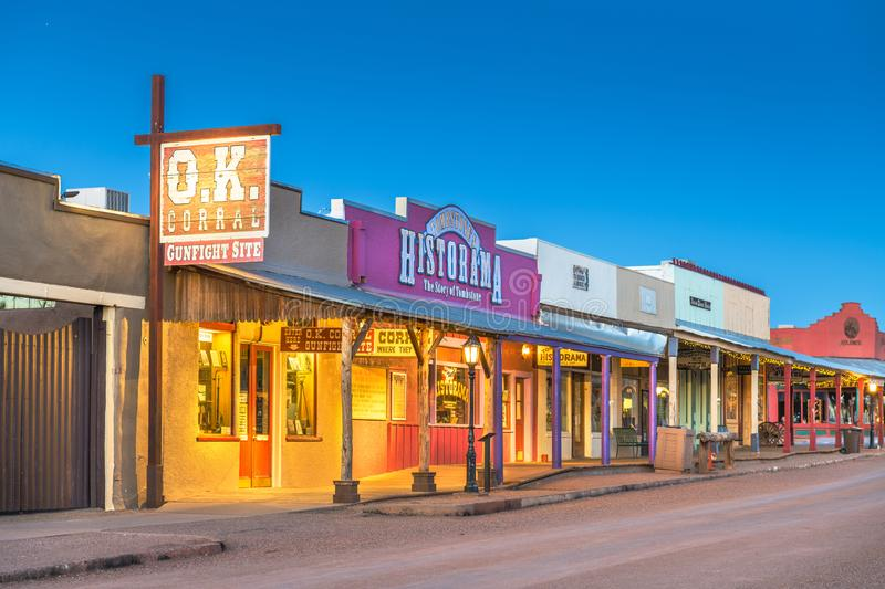 The O.K. Corral Gunfight Site in Tombstone, Arizona, USA. TOMBSTONE, ARIZONA - APRIL 17, 2018: The O.K. Corral Gunfight Site at twilight. The site is known for stock image