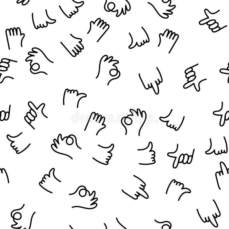 O.k. de gebaren van de het patroonvinger van de handtekening, duim en wijsvinger omhoog, middelvinger u Positieve en negatieve ha royalty-vrije illustratie