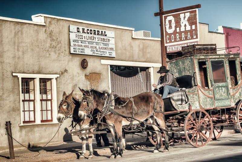 O.k. drijft Stagecoach Grafsteen bijeen stock afbeelding