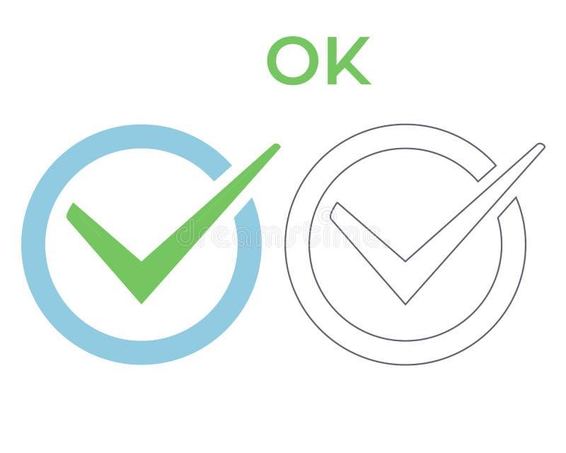 O.k. Ja vinkje vectorpictogram Kleur en overzichts positief het succesteken van de controlelijstknoop Groen correct tiksymbool in stock illustratie