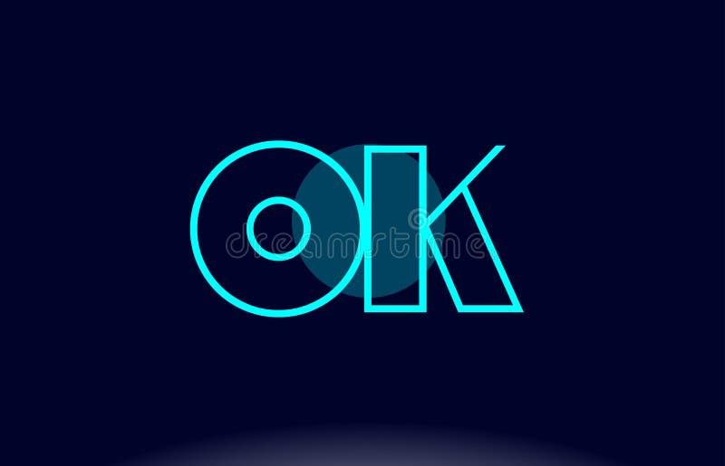 o.k. o.k. blauwe van de het alfabetbrief van de lijncirkel van het het embleempictogram het malplaatjevecto stock illustratie