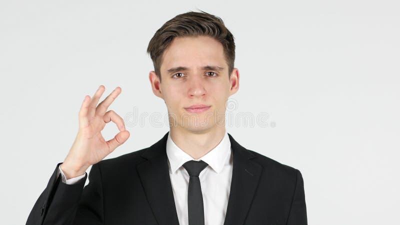 O.k., stelde zakenman, witte achtergrond tevreden stock fotografie