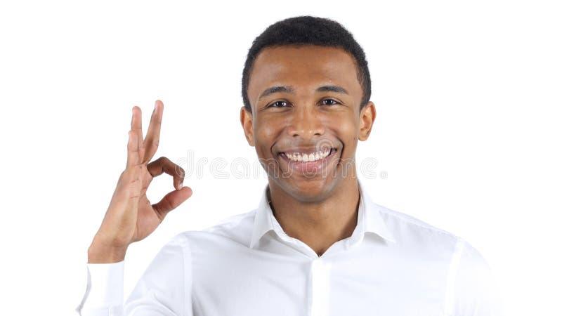 O.k. Teken door de Zwarte Mens op Witte Achtergrond royalty-vrije stock foto