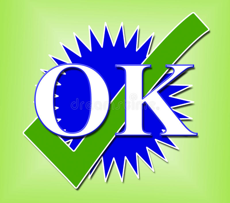 Ok Tick Means All Right And Bevestigt Stock Illustratie