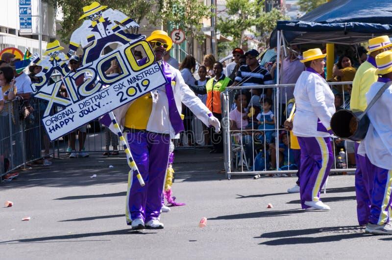 O Kaapse Klopse, parada Cape Town da rua do ano novo fotos de stock royalty free