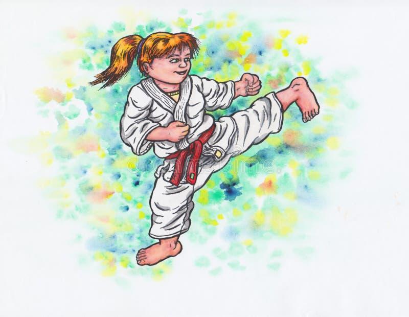 O karaté caçoa - retrocedendo a menina o poder de Karaté-faz, 2017& x29; ilustração royalty free