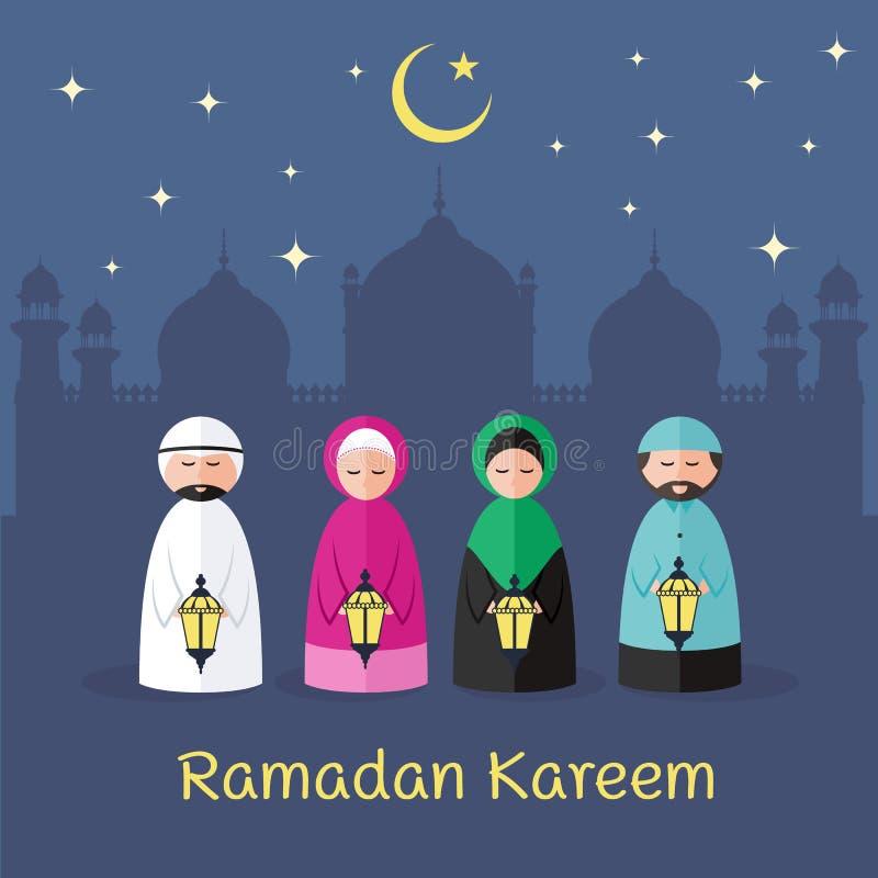 O kareem da ramadã com o homem islâmico bonito e a mulher guardam a lanterna e a mesquita das luzes do Arabian no projeto do veto ilustração do vetor