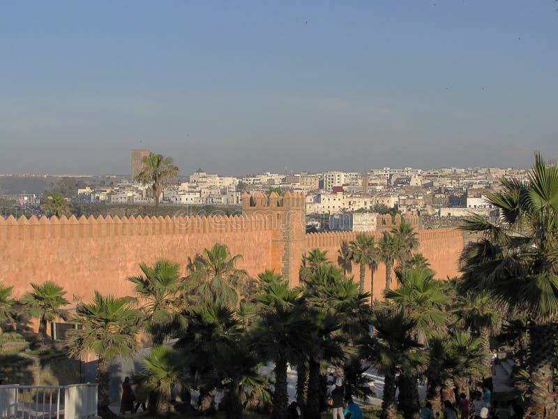 O Kasbah da fortaleza antiga de Udayas Oudayas em Rabat em Marrocos imagem de stock royalty free