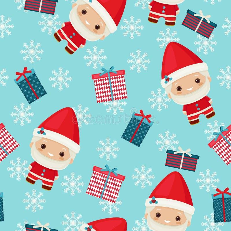 O kawaii bonito inspirou Santa Claus com caixas de presente Patte sem emenda ilustração stock