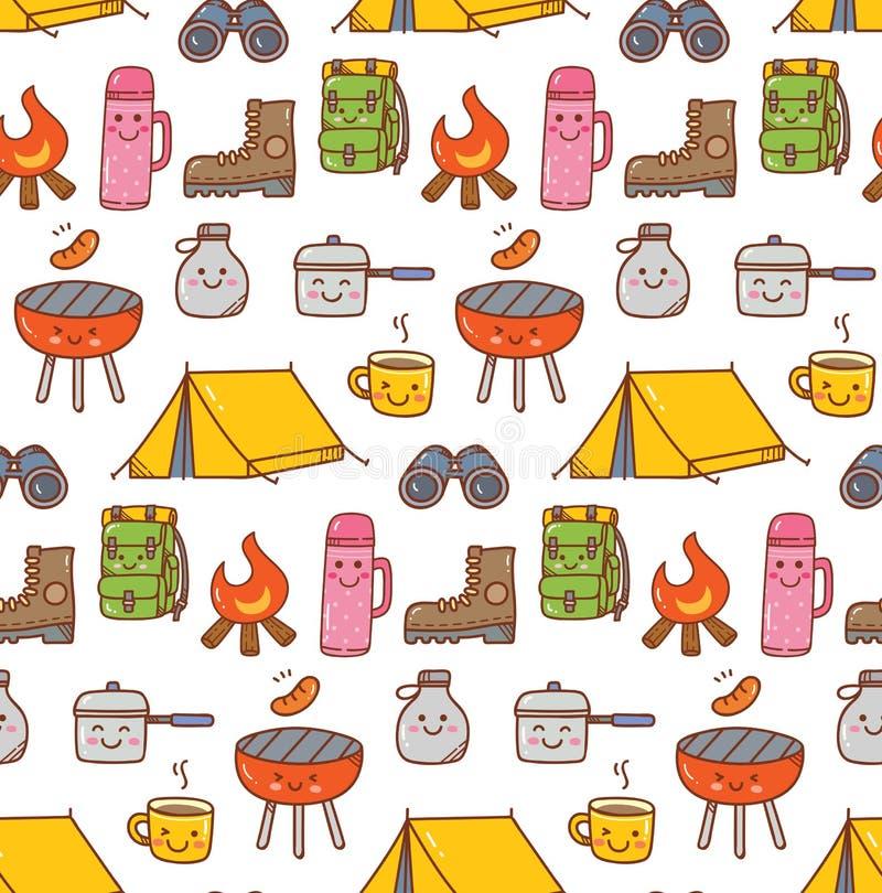 O kawaii de acampamento do material rabisca o fundo sem emenda ilustração royalty free