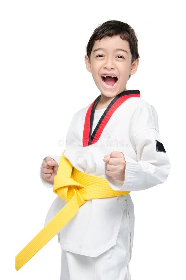 O kwon pequeno dos tae faz a correia do amarelo da arte marcial do menino fotografia de stock