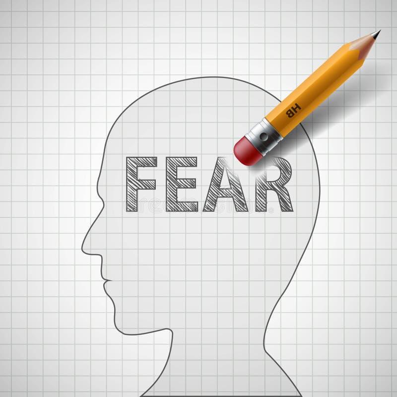 O lápis apaga o medo da palavra na cabeça humana illu conservado em estoque ilustração stock