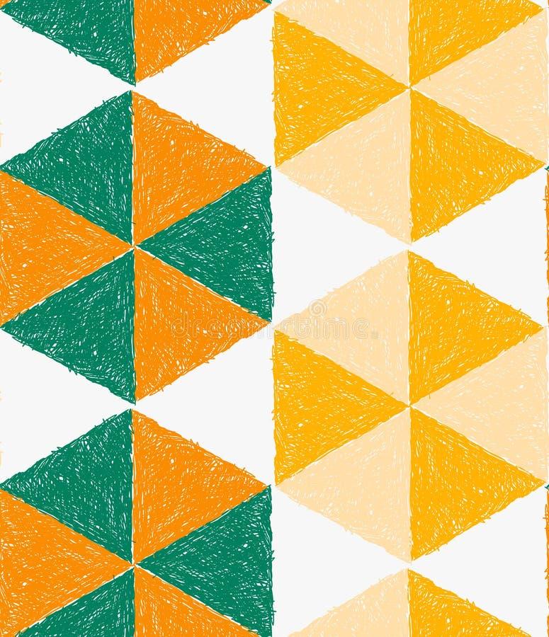 O lápis chocou os triângulos verdes e amarelos alaranjados que formam o hexágono ilustração stock
