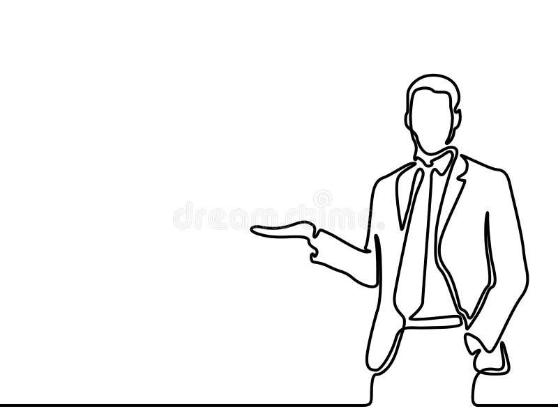O a lápis contínuo homem de negócios do desenho diz e mostra algo, copyspace Ilustra??o do vetor ilustração stock