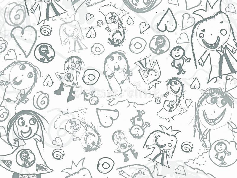 O lápis das crianças rabisca o fundo ilustração do vetor