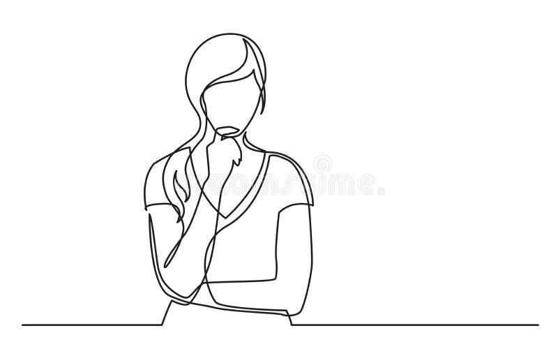 O a lápis desenho contínuo da mulher confundiu o pensamento ilustração stock