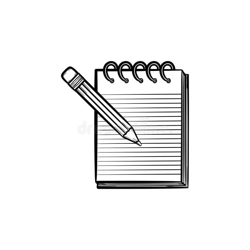 O lápis e o bloco de notas com pastas entregam o ícone tirado ilustração royalty free
