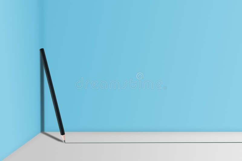O lápis preto para escrever a linha preta no assoalho e nele está inclinando-se na parede azul fotografia de stock royalty free