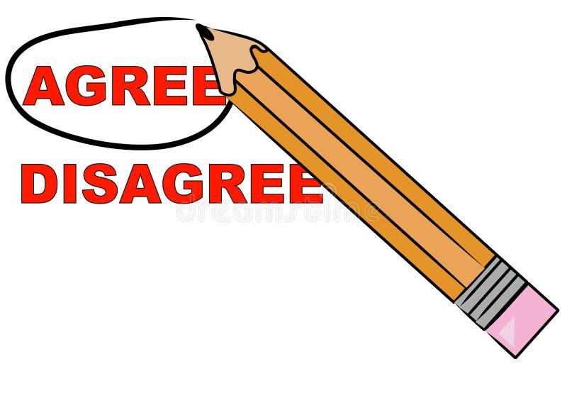 O lápis que escolhe concorda ilustração do vetor