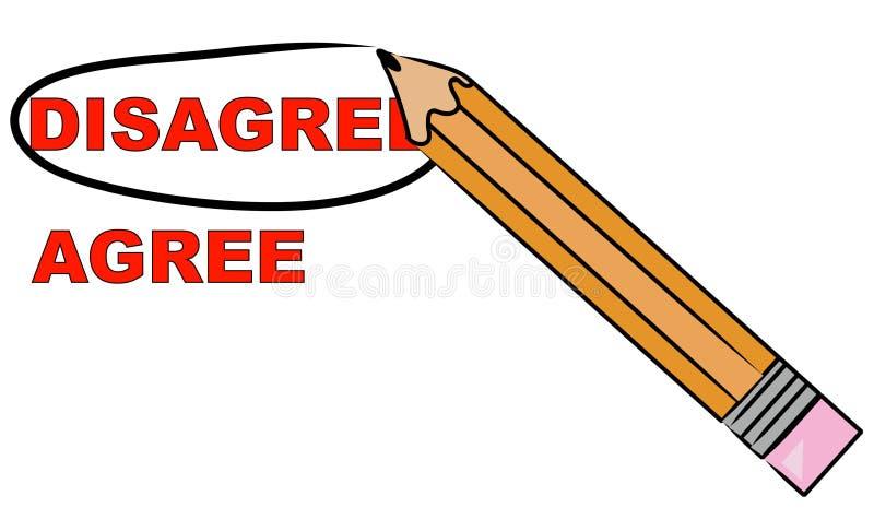 O lápis que escolhe discorda ilustração royalty free