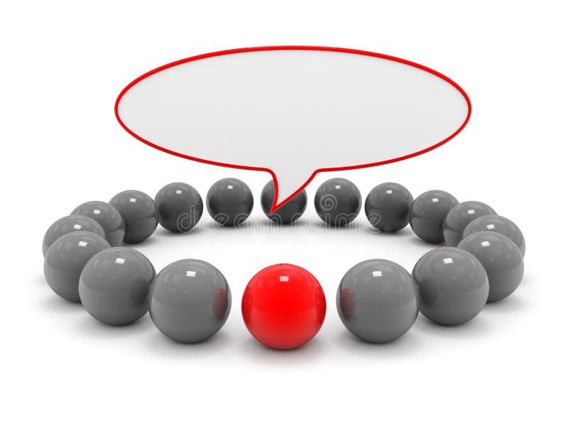 O líder, conceito da liderança, está para fora do conceito original da multidão 3d rendem ilustração royalty free