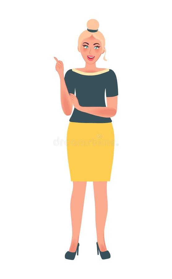 O líder da menina e o treinador do negócio em uma pose livre mostram um dedo acima Treinamento, tutoria, educação apresentação Gr ilustração stock