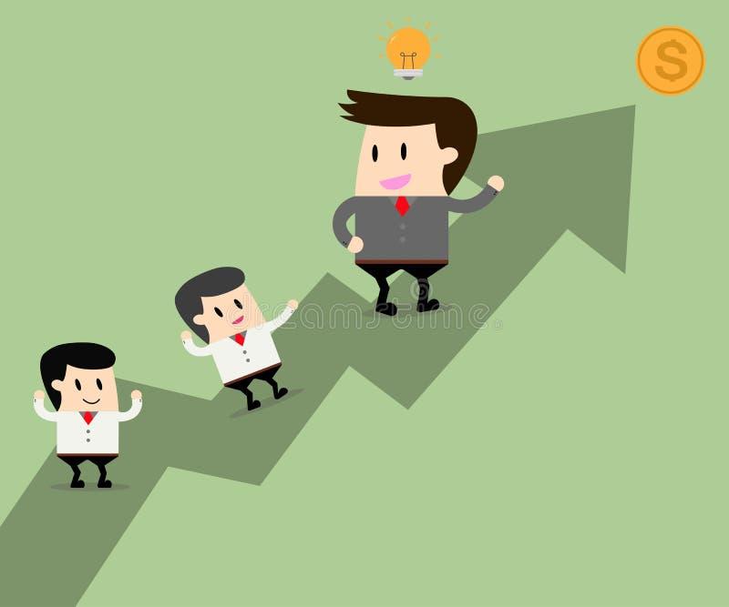 O líder de negócio tem ideias e trabalhos de equipa junto ilustração do vetor